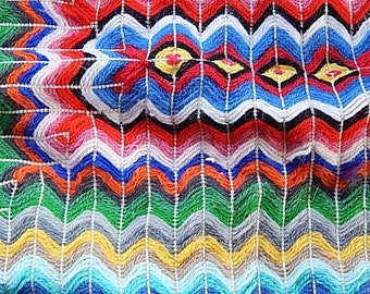 Yarn Pillow Sham - Needlework Pillow - Vintage Chevron Pillow - Zig Zag Pillow - Rainbow Pillow