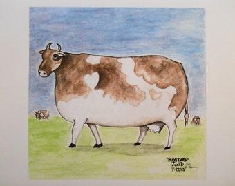 Bovine Cow Folk Art Print Fun Cattle Quirky Art Farmyard Country Milk Cow Udders Brown Cow Whimsy Folk Art Naive Primitive Print