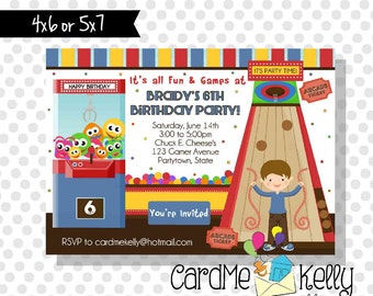 Printable Boy or Girl Games Arcade Chuck E. Cheese's Birthday Party Invitation - Digital File