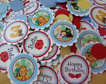 Personalized Table Confetti -Wizard of Oz-Table Minis -Party -Birthday -Baby Shower -Dorothy -Oz- Scarecrow -Tin Man -Lion -Dessert Table