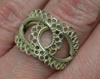 Silver Ring, Filigree Folk Abstract, Mod era Adjustable. Lacy Boho Ethnic Tribal
