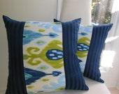 IKAT Decorative Pillow - Navy, Indigo Blue,  Avocado, Jade Green and Pale Blue Pillow - 18 x 18 Inch Striped Reversible Pillow