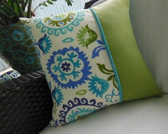 Outdoor Suzani Pillow - Indoor/Outdoor Fabric - Teal, Apple Green, Periwinkle, Ivory - Reversible 16.5 x 16.5 Inch - Beach Porch Pool Pillow
