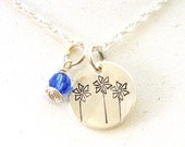 Child Abuse Awareness Pinwheels Necklace and Blue Crystal - Child Advocacy Necklace in Sterling Silver
