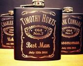 5 Groomsman Flask Set ~ With Free Custom Engraving ~ 6 oz Matte Black Stainless Steel Flask ~