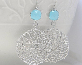 Silver Statement Earrings with Turquosie Jewels- Large Silver Dangle Earrings-Silver Mesh Circle Earrings- Geometric Statement Earrings