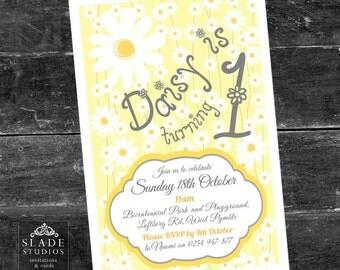 Daisy birthday party invitations. Daisy chain birthday party invitations printable.
