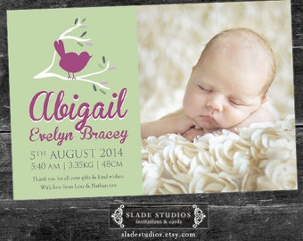 Baby Bird birth announcement photo cards. Printable.