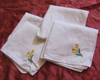"Set of 4 Vintage Linen Cotton  Napkins 12"" Inch Square"