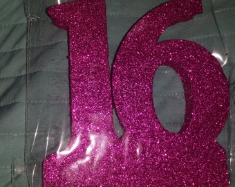 STYROFOAM glittered    numbers 16 craft. cake topper centerpiece anniversary Birthday.