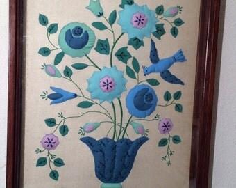 1960's Vintage Retro 3D Textile Art Framed Floral Bird Mid-Century Modern Quilt