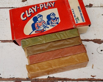 Vintage Clay Play Modeling Clay Stewarts Plastic Art Red White Blue Original Box and Unused Contents NOS 1940's