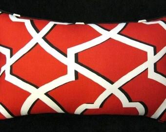 Morrow Carmine Red  black white cording pillow cover  14 X 24