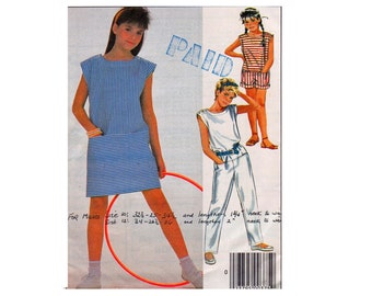 Easy McCalls 9498 Jumpsuit Romper Dress Dropped Waistline Sizes 10 12 14 tween teen girls fashion 1980s Sewing Pattern retro