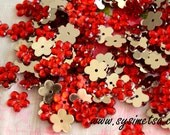 Red Acrylic Flower Rhinestones 40g(about 688 pcs) - Flower flat back Rhinestones 10mm
