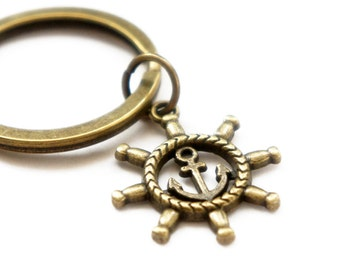 Ship Wheel with Anchor - Antiqued Brass Vintage Style Key Ring Key Chain - KR34