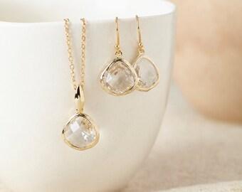 Gold Crystal Gemstone Jewellery Set