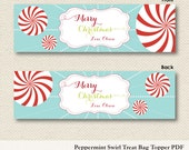 Christmas Holiday Treat Bag Toppers - Printable PDF Digital File - Peppermint Swirl