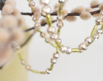 Vintage Christmas Mercury Glass Double Indent Bumpy Beads Garland 8 Ft