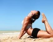 "12 x 16"" Yoga asana Man Wooman on the Beach  Fine Art  Canvas printing with Model Releases"