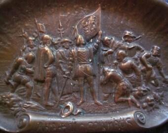 ON SALE.. fine detailed  bronze tray,,landing of columbus