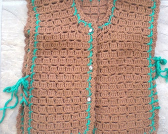 Now on Sale, Girl's Brown and Green Crocheted Vest with Rhinestone Buttons, Size 4-5, Unworn
