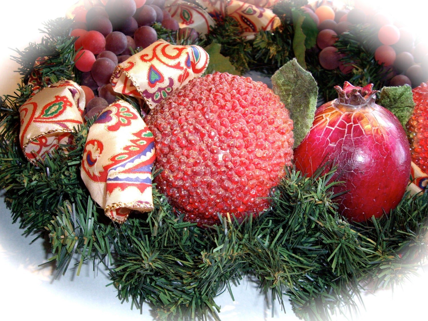 Handmade Christmas fruit wreath beaded apples pomegranate wired ribbon hostess gift