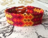 Double Fire Chevron Friendship Bracelet Cuff