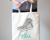 Personalised Retro Sneaker Canvas Tote Bag Shopper