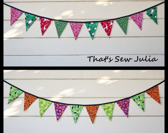 Double Sided 5 FT Classic Christmas and Halloween Flag Bunting (Ready to Ship)