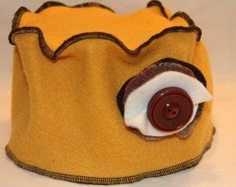 Yellow Fleece Pillbox Hat