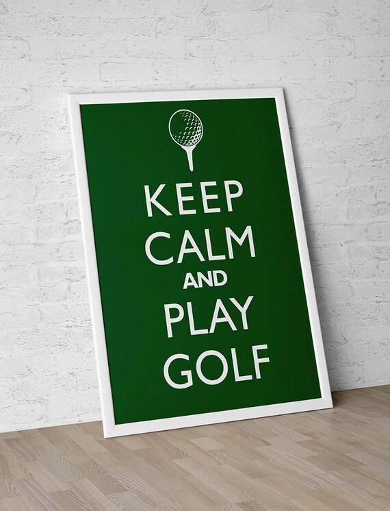 "Man Cave Decor ""Keep Calm And Play Golf"" Print Poster Wall Art Sports"