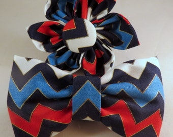 Dog Flower, Dog Bow Tie, Cat Flower, Cat Bow Tie- Patriotic Chevron