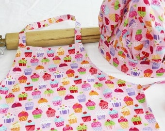 Gourmet Pink Cupcake Child Apron and Adjustable Chef Hat