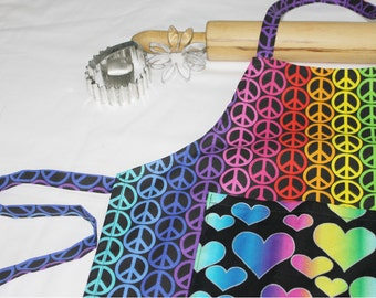 Peace Signs & Hearts Child Apron