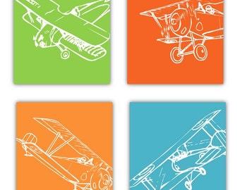 "Airplane art for Kids Room // Nursery Art Airplanes // Planes Nursery Decor // Aviation Art for Kids // 4-8x10"" PRINTS ONLY Unframed"