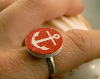 Anchor Ring: Wooden Anchor Charm Ring, Red Anchor, Sailor, Nautical, Sailing, Marine, Ocean, Adjustable, Navy