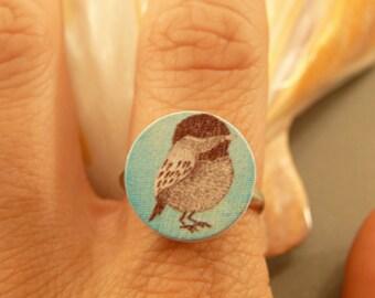 Bird Ring: Turquoise Wooden Bird Charm Ring, Adjustable, Sparrow, Swallow Bird, Bird Ring, Nature