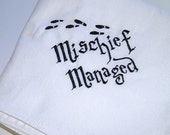 Harry Potter Inspired Mischief Managed- Embroidered Snuggle Flannel Baby Blanket - Choose Color