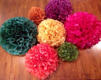 THANKSGIVING FALL THEME, tissue paper pom poms,7 pom poms, fall theme, fall wedding pom poms, autum, party decorations, nursery decor