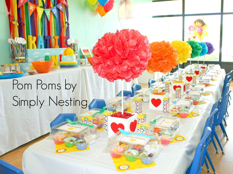 Rainbow Party Pom Set 6 Large Tissue Paper Pom Poms Birthday