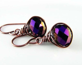 Amethyst Wire Wrapped Earrings Crystal Copper Earrings Wire Wrapped Jewelry