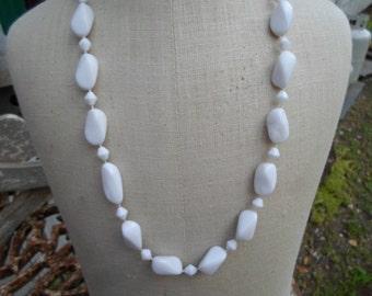 Vintage White Plastic 1950s Hong Kong Necklace Beaded Swirl Lightweight Beaded