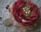 Pink flower corsage Wrist flower corsage Bridal accessory Prom corsage Wedding accessory Fabric flower corsage
