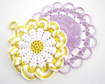 Set of Two 2 Vintage Hand Crocheted Potholders Lavender Yellow