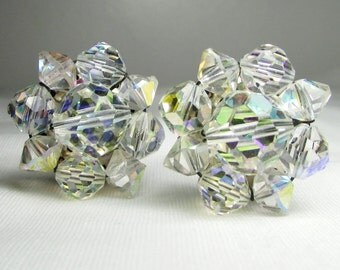 Vintage Crystal Beaded Earrings: Aurora Borealis Clips - Made in Germany