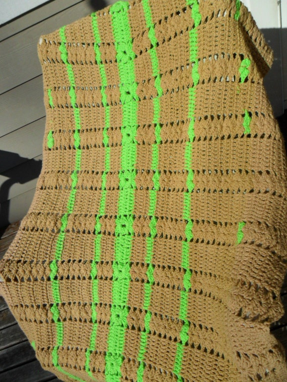 items similar to vintage afghan throw blanket crocheted neon lime green brown 55 x 35 baby. Black Bedroom Furniture Sets. Home Design Ideas