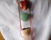 Heart, pendant, necklace, stone, jasper, quartz, bohemian, earthy, simple, minimalist, fun, unisex- Earthly Love