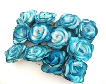 Turquoise and White Mulberry Paper Roses Flowers Large