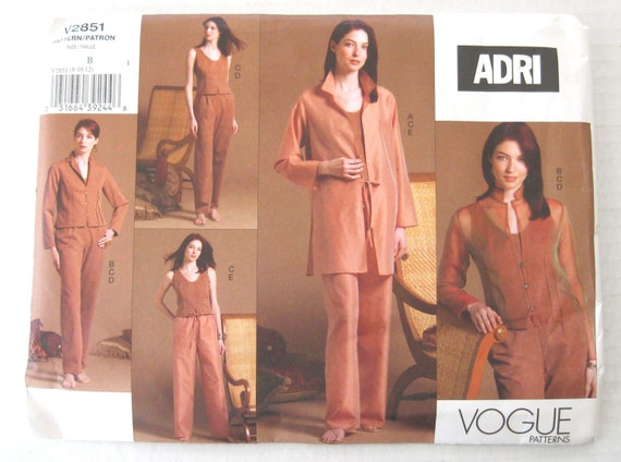 2000s ADRI Womens Separates Pattern, Bust 31-34, Vogue V2851, Misses/Miss Petite Size 8 10 12, Jacket, Pants, Top, Shirt Jacket, UNCUT FF